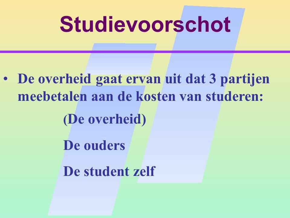 Studievoorschot De overheid gaat ervan uit dat 3 partijen meebetalen aan de kosten van studeren: ( De overheid) De ouders De student zelf