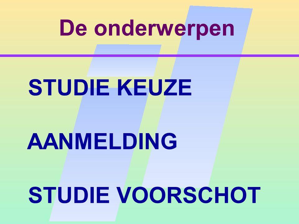 De onderwerpen STUDIE KEUZE AANMELDING STUDIE VOORSCHOT
