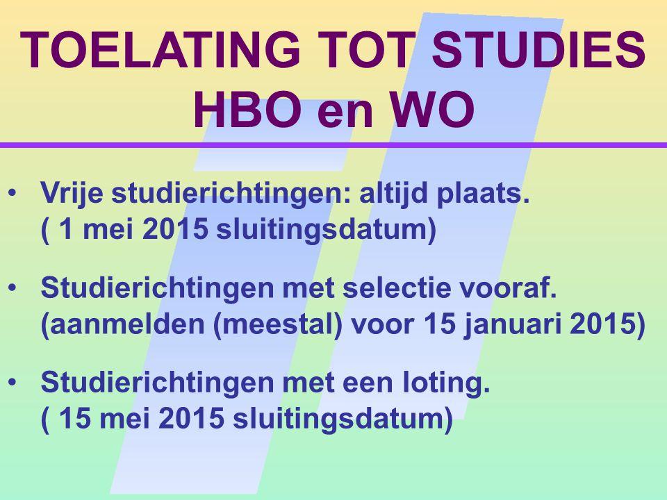TOELATING TOT STUDIES HBO en WO Studierichtingen met selectie vooraf.