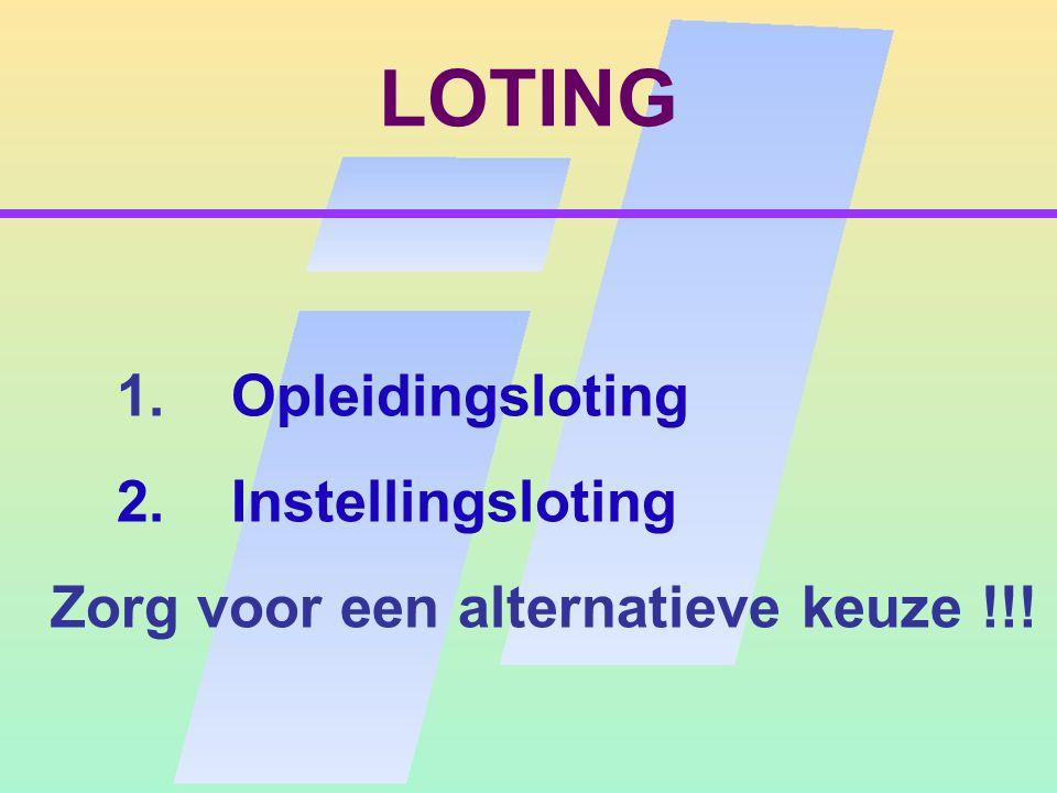 LOTING 1. Opleidingsloting 2. Instellingsloting Zorg voor een alternatieve keuze !!!
