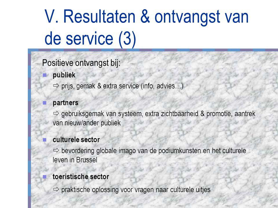 V. Resultaten & ontvangst van de service (3) Positieve ontvangst bij: publiek  prijs, gemak & extra service (info, advies…) partners  gebruiksgemak