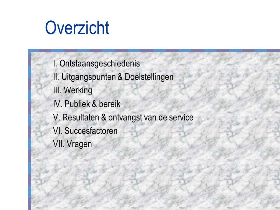 Overzicht I. Ontstaansgeschiedenis II. Uitgangspunten & Doelstellingen III.