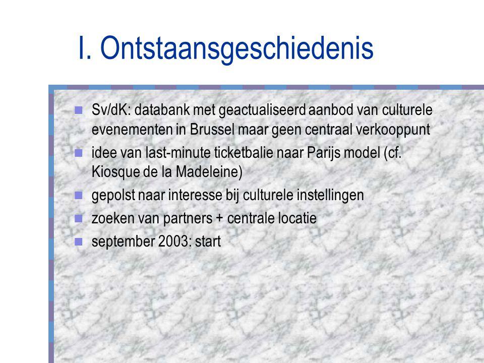 I. Ontstaansgeschiedenis Sv/dK: databank met geactualiseerd aanbod van culturele evenementen in Brussel maar geen centraal verkooppunt idee van last-m
