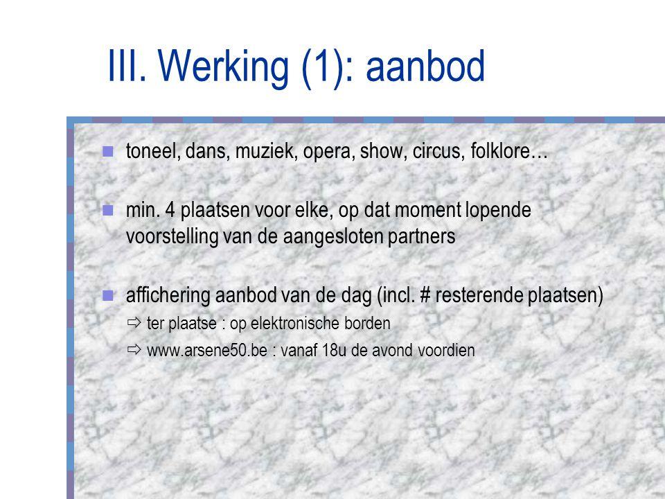 III. Werking (1): aanbod toneel, dans, muziek, opera, show, circus, folklore… min.