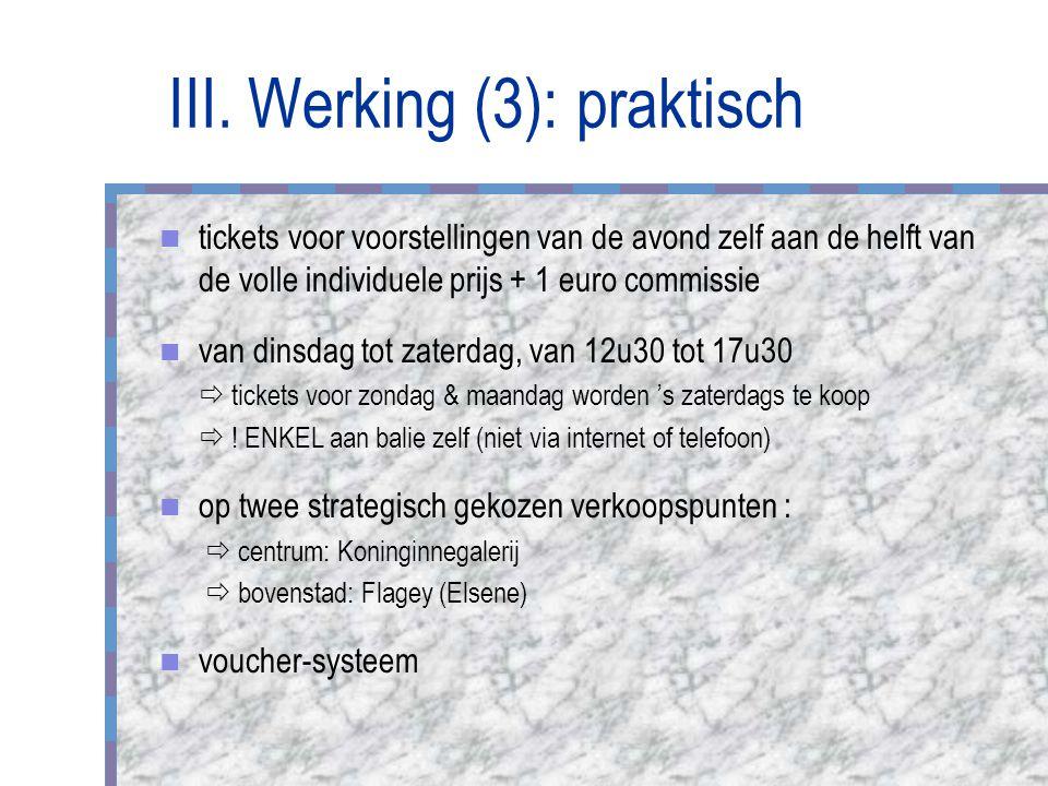 III. Werking (3): praktisch tickets voor voorstellingen van de avond zelf aan de helft van de volle individuele prijs + 1 euro commissie van dinsdag t