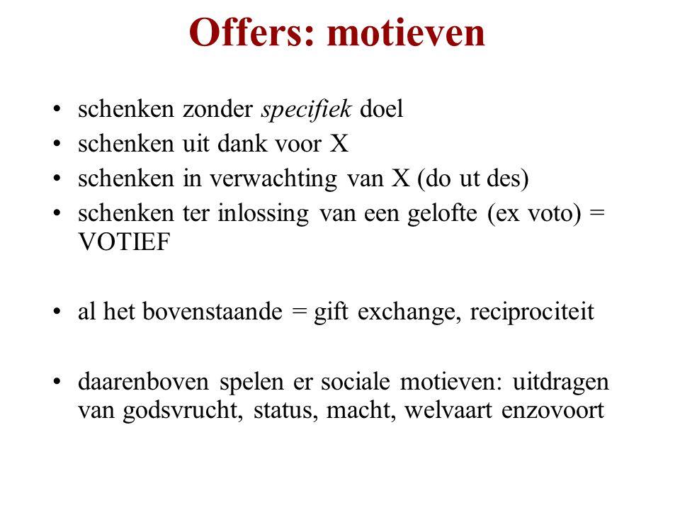 Offers: motieven schenken zonder specifiek doel schenken uit dank voor X schenken in verwachting van X (do ut des) schenken ter inlossing van een gelo