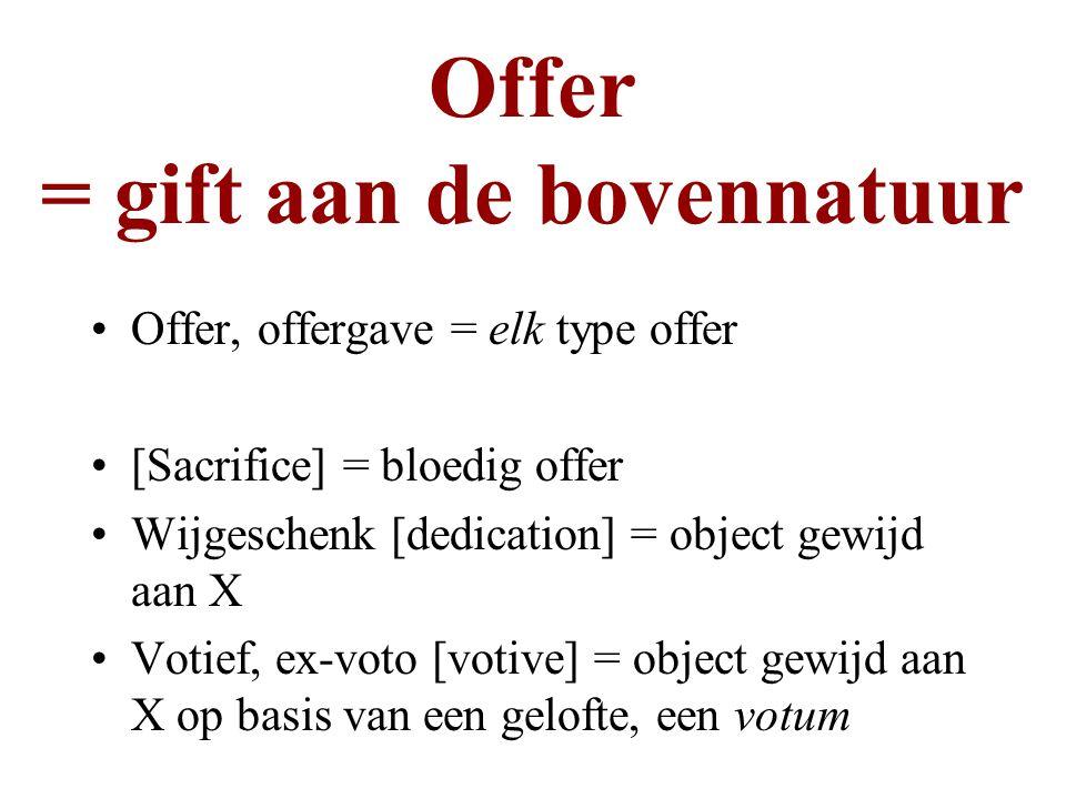 Offer = gift aan de bovennatuur Offer, offergave = elk type offer [Sacrifice] = bloedig offer Wijgeschenk [dedication] = object gewijd aan X Votief, e