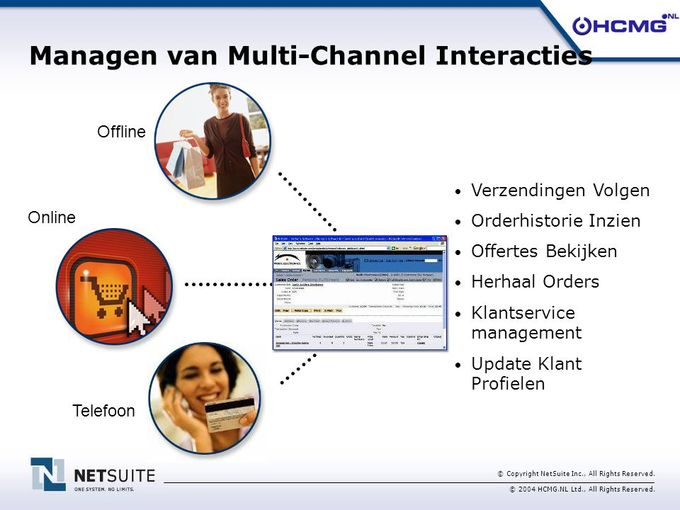 © Copyright NetSuite Inc., All Rights Reserved. © 2004 HCMG.NL Ltd., All Rights Reserved. Managen van Multi-Channel Interacties Verzendingen Volgen Or