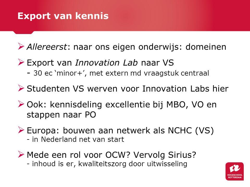 Export van kennis  Allereerst: naar ons eigen onderwijs: domeinen  Export van Innovation Lab naar VS - 30 ec 'minor+', met extern md vraagstuk centr