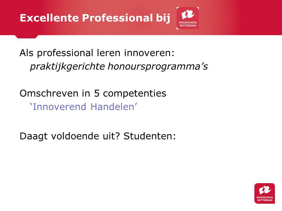 Excellente Professional bij Als professional leren innoveren: praktijkgerichte honoursprogramma's Omschreven in 5 competenties 'Innoverend Handelen' D