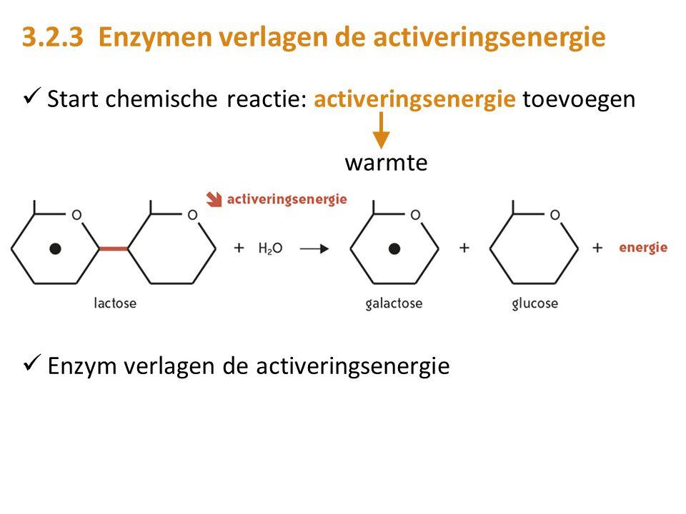 3.2.3 Enzymen verlagen de activeringsenergie Start chemische reactie: activeringsenergie toevoegen warmte Enzym verlagen de activeringsenergie