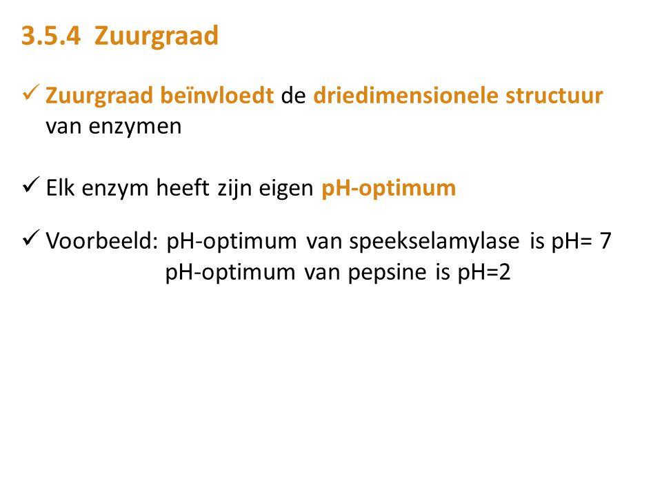 3.5.4 Zuurgraad Zuurgraad beïnvloedt de driedimensionele structuur van enzymen Elk enzym heeft zijn eigen pH-optimum Voorbeeld: pH-optimum van speekse