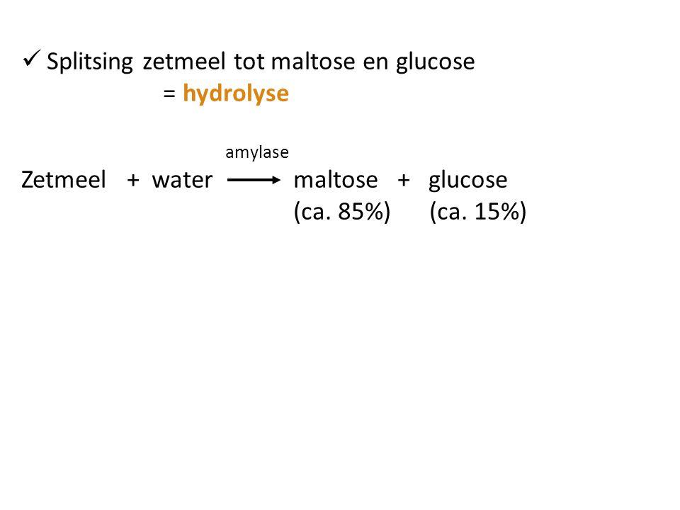 Splitsing zetmeel tot maltose en glucose = hydrolyse amylase Zetmeel + water maltose + glucose (ca. 85%)(ca. 15%)