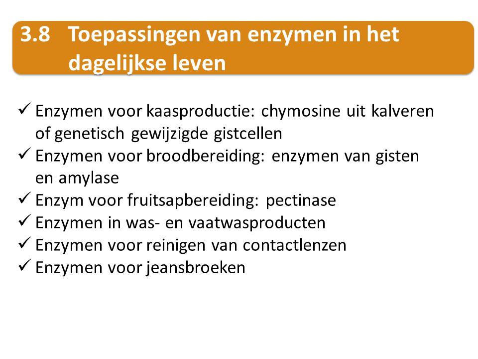 Enzymen voor kaasproductie: chymosine uit kalveren of genetisch gewijzigde gistcellen Enzymen voor broodbereiding: enzymen van gisten en amylase Enzym