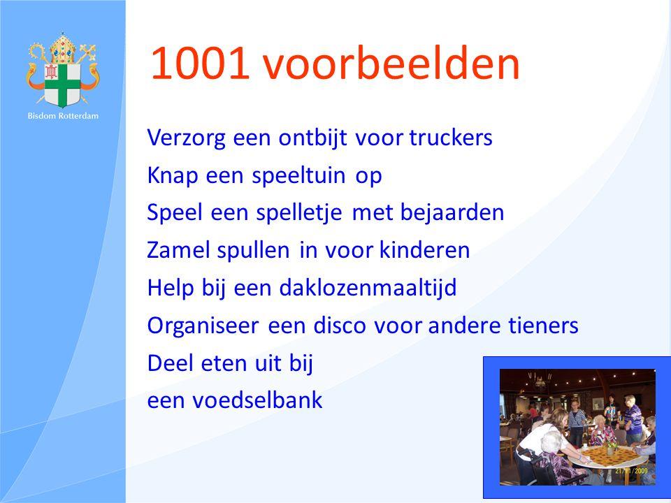 1001 voorbeelden Verzorg een ontbijt voor truckers Knap een speeltuin op Speel een spelletje met bejaarden Zamel spullen in voor kinderen Help bij een daklozenmaaltijd Organiseer een disco voor andere tieners Deel eten uit bij een voedselbank