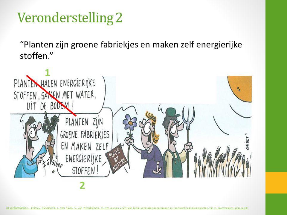 """Veronderstelling 2 """"Planten zijn groene fabriekjes en maken zelf energierijke stoffen."""" DE SCHEEMAEKER,K., EVENS,L., ROMBOUTS, J., VAN NEVEL, C., VAN"""