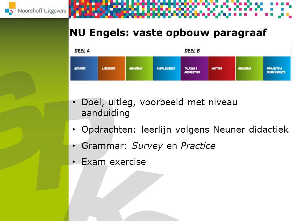 NU Engels: vaste opbouw paragraaf Doel, uitleg, voorbeeld met niveau aanduiding Opdrachten: leerlijn volgens Neuner didactiek Exam exercise Grammar: S