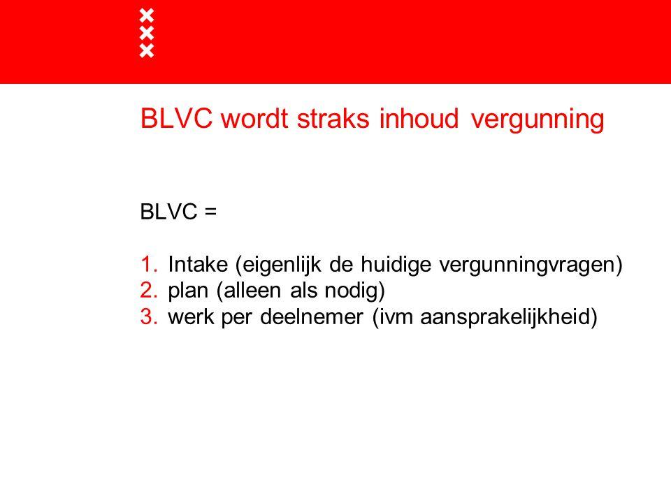 BLVC wordt straks inhoud vergunning BLVC = 1.Intake (eigenlijk de huidige vergunningvragen) 2.plan (alleen als nodig) 3.werk per deelnemer (ivm aanspr