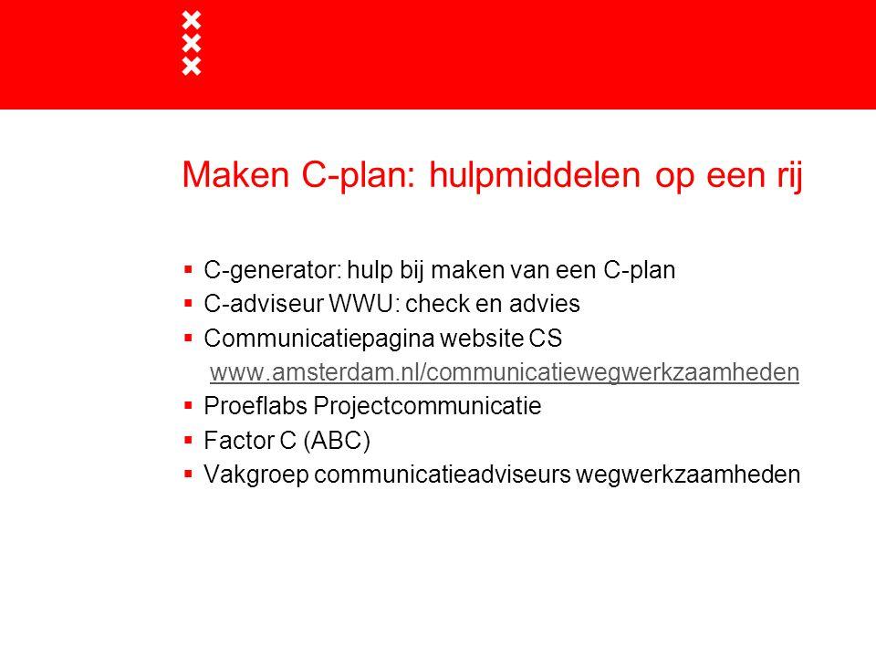 Maken C-plan: hulpmiddelen op een rij  C-generator: hulp bij maken van een C-plan  C-adviseur WWU: check en advies  Communicatiepagina website CS w