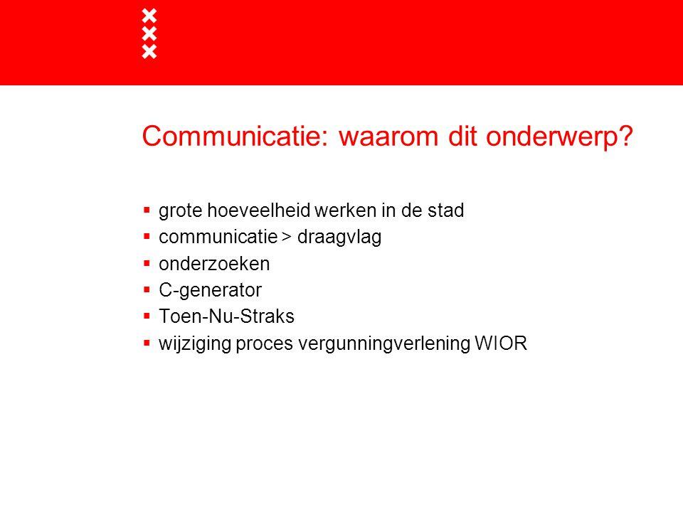 Communicatie: waarom dit onderwerp?  grote hoeveelheid werken in de stad  communicatie > draagvlag  onderzoeken  C-generator  Toen-Nu-Straks  wi