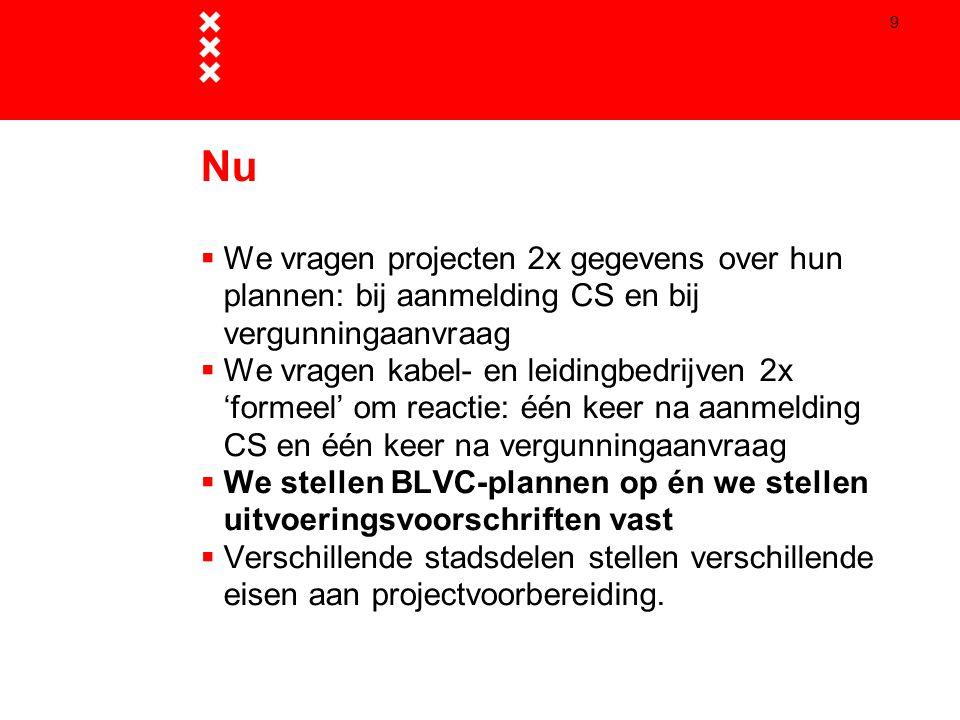 9 Nu  We vragen projecten 2x gegevens over hun plannen: bij aanmelding CS en bij vergunningaanvraag  We vragen kabel- en leidingbedrijven 2x 'formee