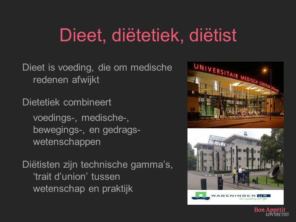 Dieet, diëtetiek, diëtist Dieet is voeding, die om medische redenen afwijkt Dietetiek combineert voedings-, medische-, bewegings-, en gedrags- wetensc