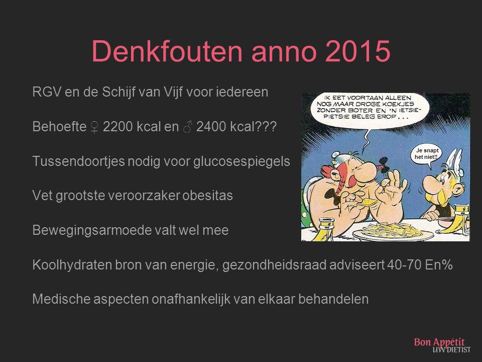 Denkfouten anno 2015 RGV en de Schijf van Vijf voor iedereen Behoefte ♀ 2200 kcal en ♂ 2400 kcal??? Tussendoortjes nodig voor glucosespiegels Vet groo