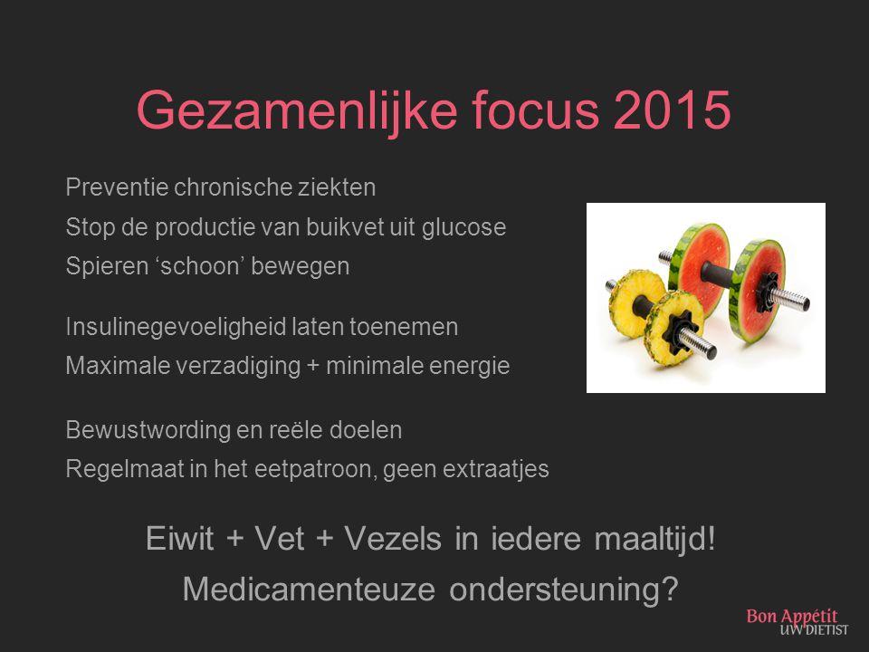 Gezamenlijke focus 2015 Preventie chronische ziekten Stop de productie van buikvet uit glucose Spieren 'schoon' bewegen Insulinegevoeligheid laten toe