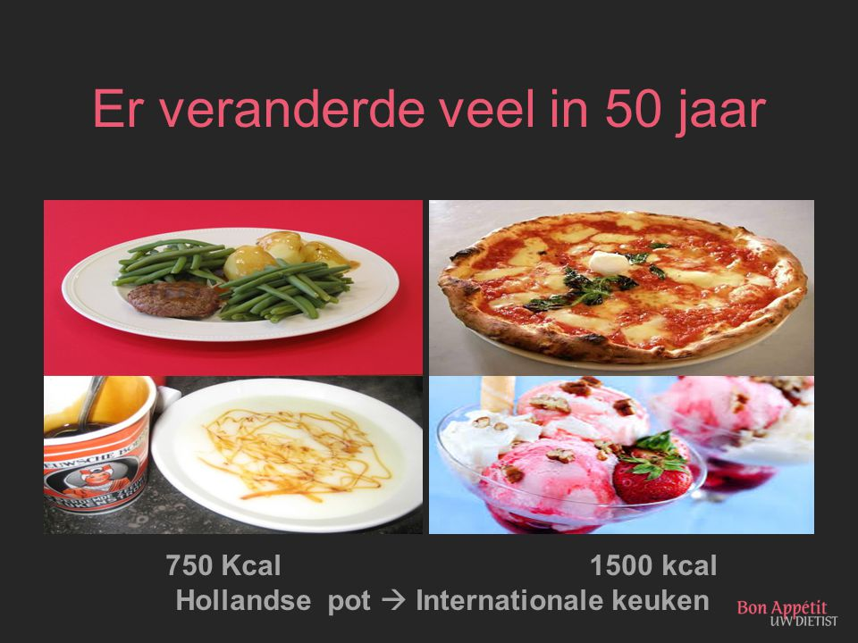 Er veranderde veel in 50 jaar 750 Kcal 1500 kcal Hollandse pot  Internationale keuken