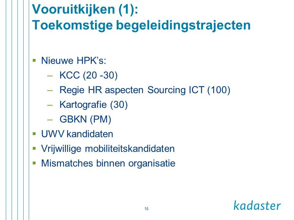 16 Vooruitkijken (1): Toekomstige begeleidingstrajecten  Nieuwe HPK's: –KCC (20 -30) –Regie HR aspecten Sourcing ICT (100) –Kartografie (30) –GBKN (P