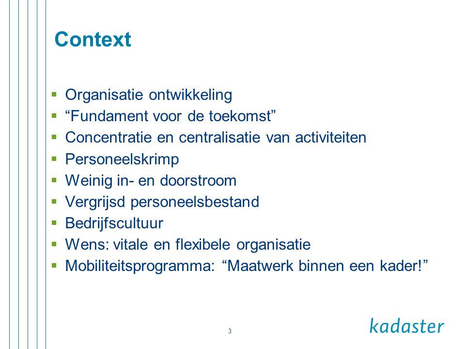 """3 Context  Organisatie ontwikkeling  """"Fundament voor de toekomst""""  Concentratie en centralisatie van activiteiten  Personeelskrimp  Weinig in- en"""