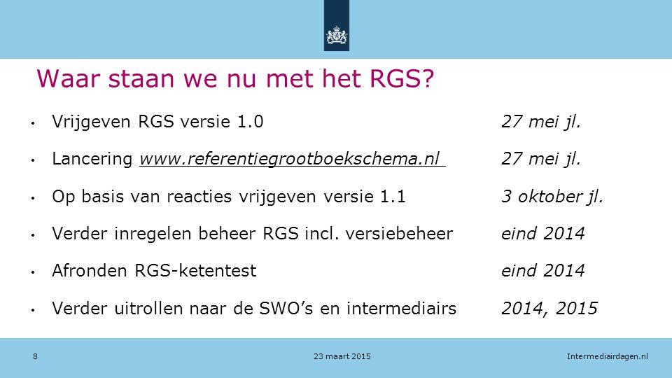 Intermediairdagen.nl Waar staan we nu met het RGS? Vrijgeven RGS versie 1.0 27 mei jl. Lancering www.referentiegrootboekschema.nl 27 mei jl. Op basis