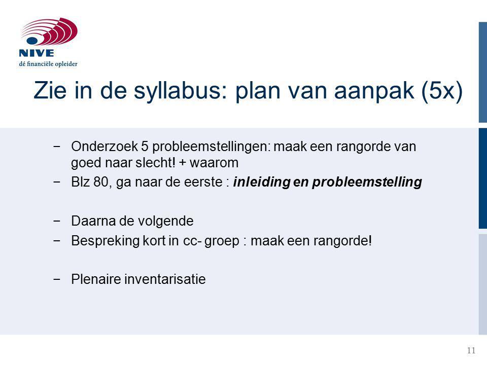 Zie in de syllabus: plan van aanpak (5x) −Onderzoek 5 probleemstellingen: maak een rangorde van goed naar slecht.