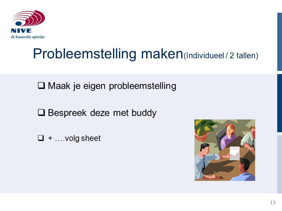 Probleemstelling maken (Individueel / 2 tallen)  Maak je eigen probleemstelling  Bespreek deze met buddy  + ….volg sheet 13