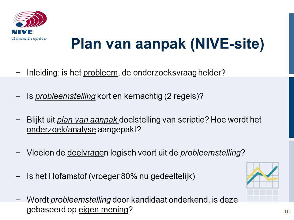 Plan van aanpak (NIVE-site) −Inleiding: is het probleem, de onderzoeksvraag helder.