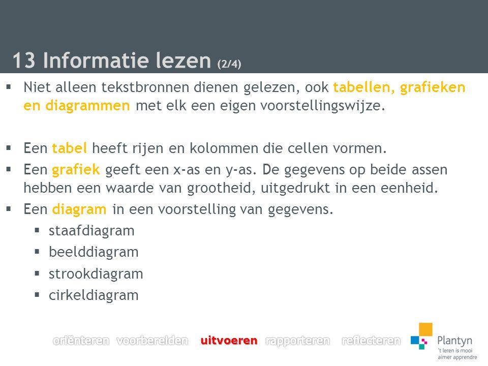 13 Informatie lezen (2/4)  Niet alleen tekstbronnen dienen gelezen, ook tabellen, grafieken en diagrammen met elk een eigen voorstellingswijze.