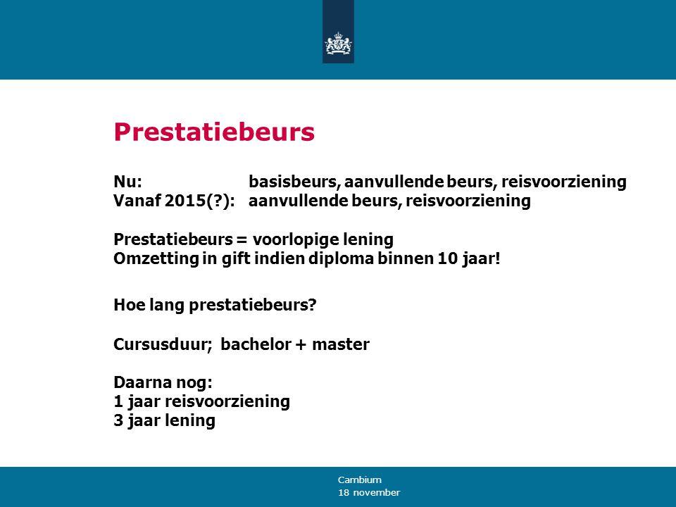 18 november Cambium Prestatiebeurs Nu: basisbeurs, aanvullende beurs, reisvoorziening Vanaf 2015(?): aanvullende beurs, reisvoorziening Prestatiebeurs