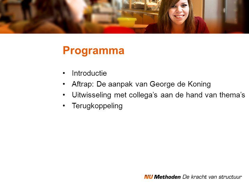 Introductie Aftrap: De aanpak van George de Koning Uitwisseling met collega's aan de hand van thema's Terugkoppeling Programma
