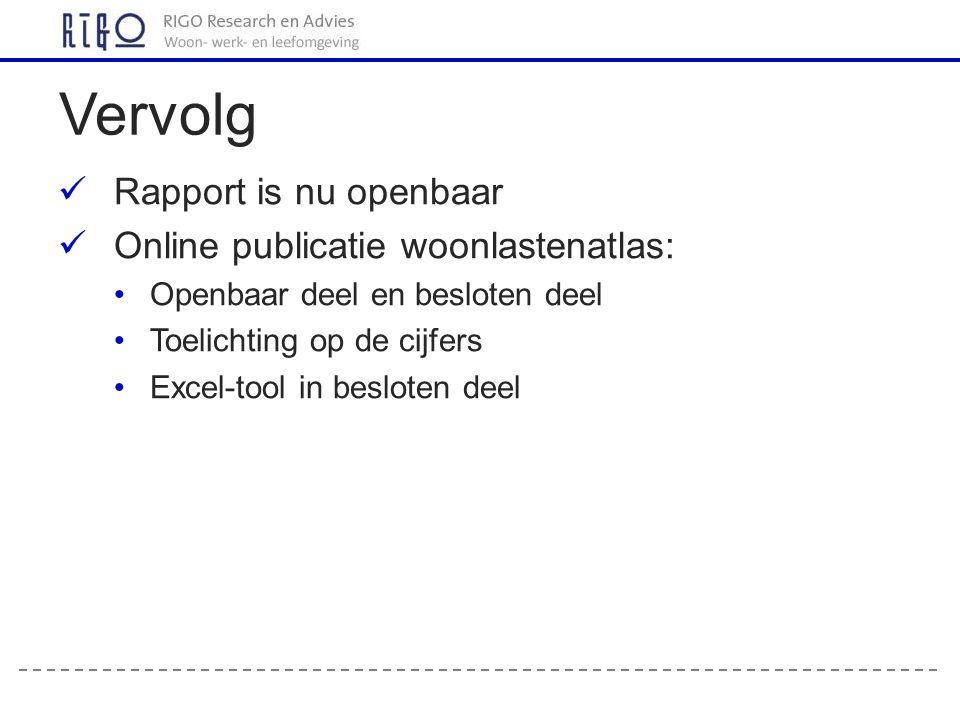 Rapport is nu openbaar Online publicatie woonlastenatlas: Openbaar deel en besloten deel Toelichting op de cijfers Excel-tool in besloten deel Vervolg