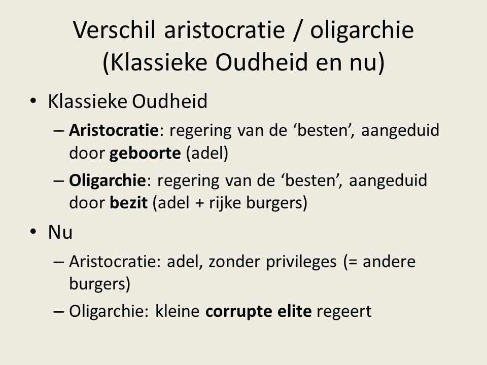 Verschil aristocratie / oligarchie (Klassieke Oudheid en nu) Klassieke Oudheid – Aristocratie: regering van de 'besten', aangeduid door geboorte (adel