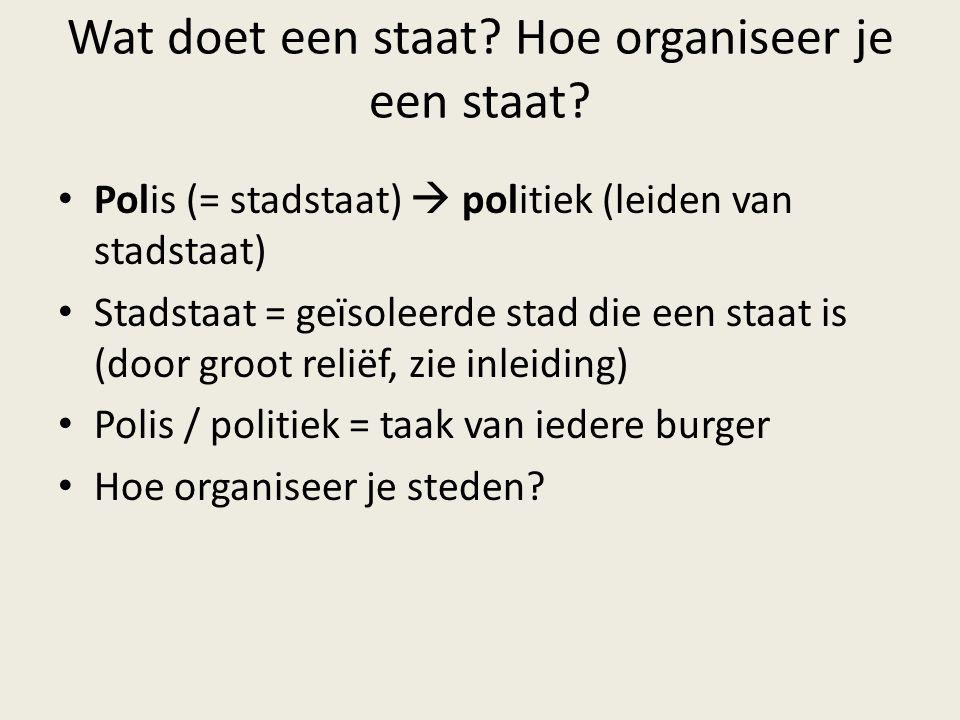 Wat doet een staat? Hoe organiseer je een staat? Polis (= stadstaat)  politiek (leiden van stadstaat) Stadstaat = geïsoleerde stad die een staat is (