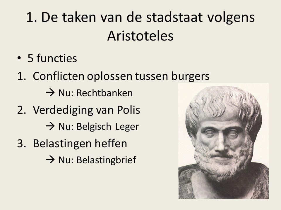 1. De taken van de stadstaat volgens Aristoteles 5 functies 1.Conflicten oplossen tussen burgers  Nu: Rechtbanken 2.Verdediging van Polis  Nu: Belgi
