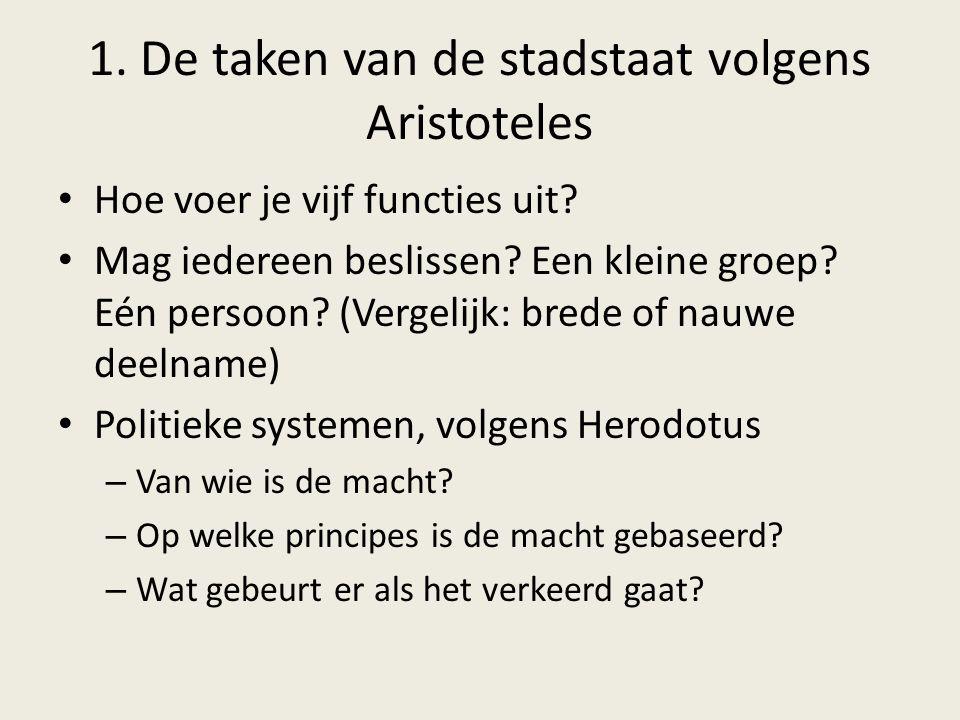 1. De taken van de stadstaat volgens Aristoteles Hoe voer je vijf functies uit? Mag iedereen beslissen? Een kleine groep? Eén persoon? (Vergelijk: bre