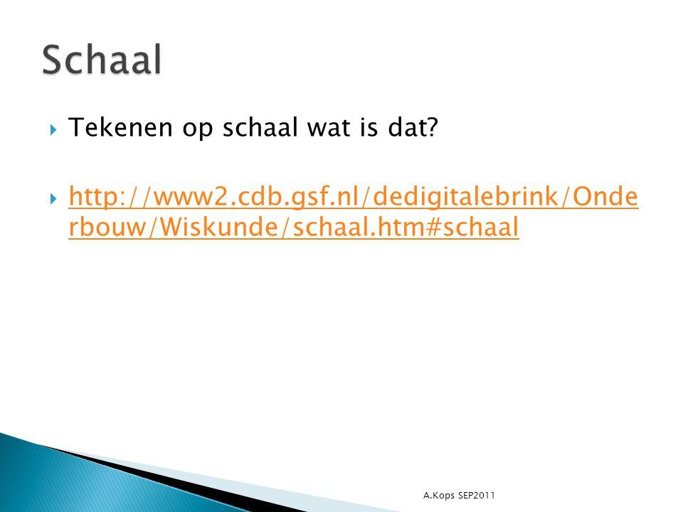  Tekenen op schaal wat is dat?  http://www2.cdb.gsf.nl/dedigitalebrink/Onde rbouw/Wiskunde/schaal.htm#schaal http://www2.cdb.gsf.nl/dedigitalebrink/