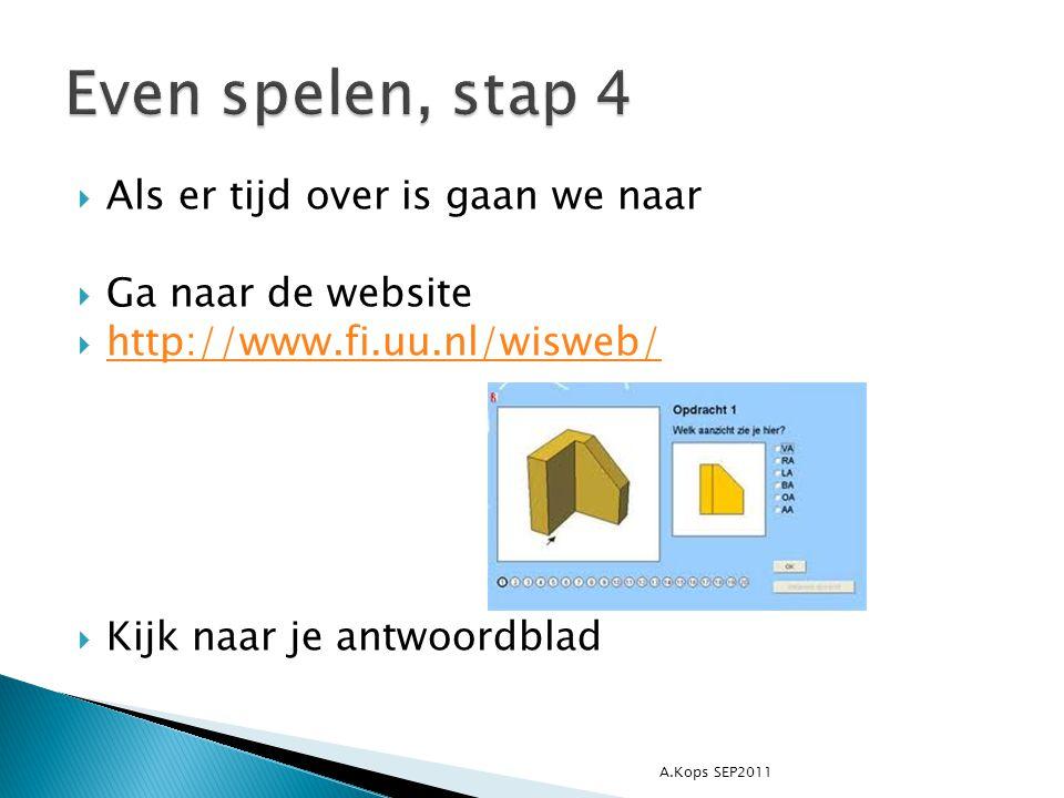  Als er tijd over is gaan we naar  Ga naar de website  http://www.fi.uu.nl/wisweb/ http://www.fi.uu.nl/wisweb/  Kijk naar je antwoordblad A.Kops SEP2011