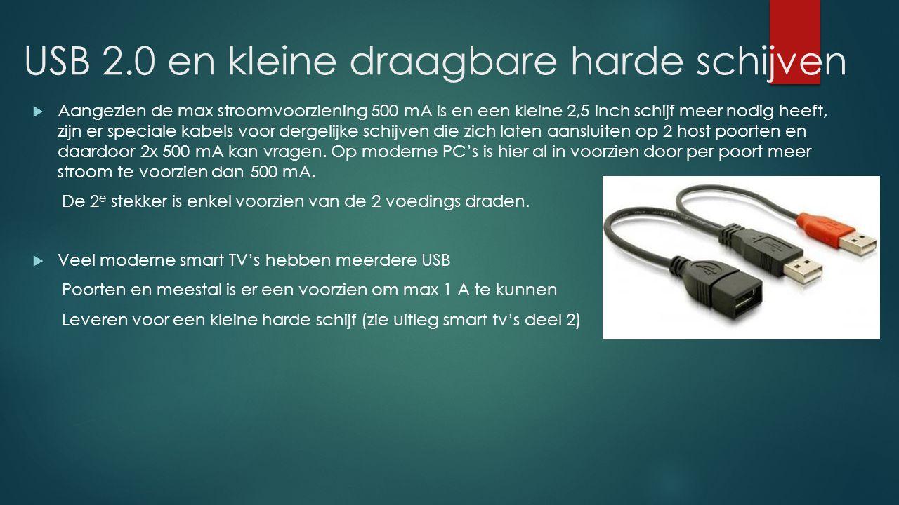 USB 2.0 en kleine draagbare harde schijven  Aangezien de max stroomvoorziening 500 mA is en een kleine 2,5 inch schijf meer nodig heeft, zijn er spec