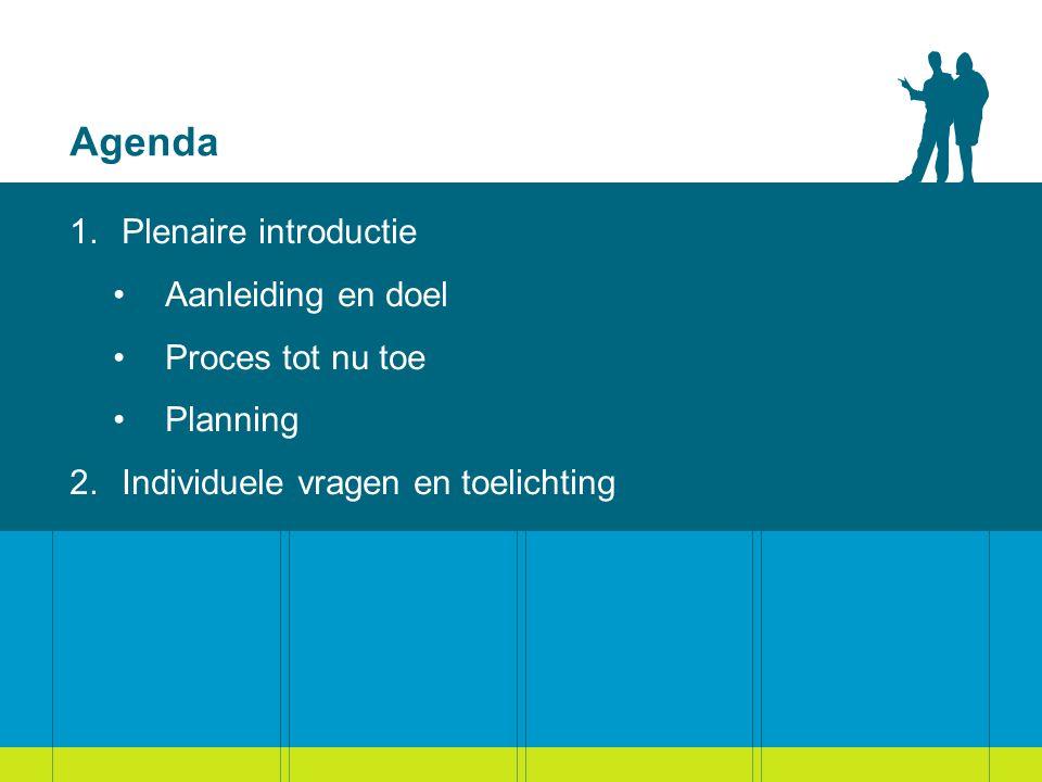 Agenda 1.Plenaire introductie Aanleiding en doel Proces tot nu toe Planning 2.Individuele vragen en toelichting