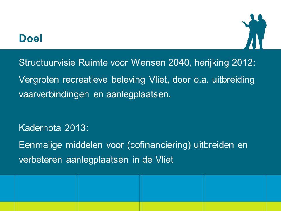 Doel Structuurvisie Ruimte voor Wensen 2040, herijking 2012: Vergroten recreatieve beleving Vliet, door o.a. uitbreiding vaarverbindingen en aanlegpla