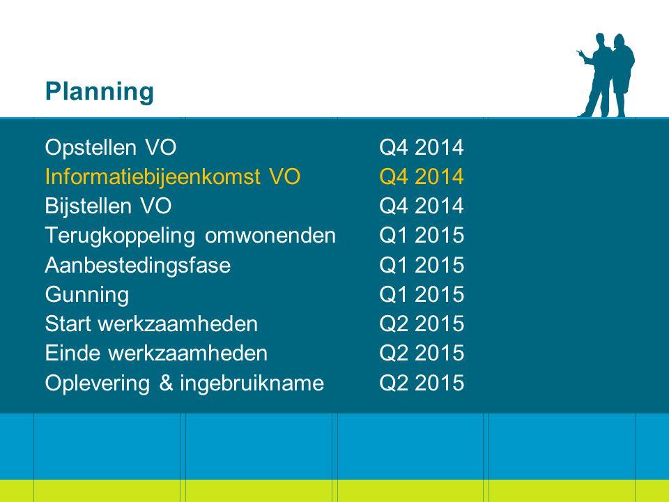 Planning Opstellen VOQ4 2014 Informatiebijeenkomst VOQ4 2014 Bijstellen VOQ4 2014 Terugkoppeling omwonendenQ1 2015 AanbestedingsfaseQ1 2015 GunningQ1