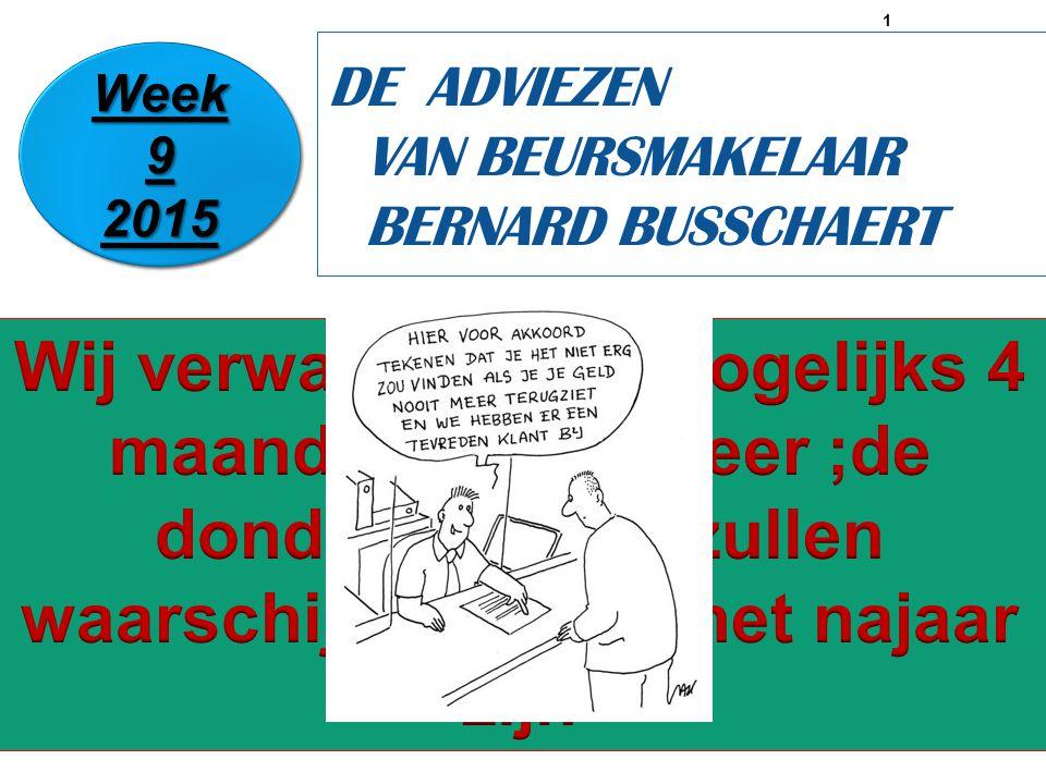 1 DE ADVIEZEN VAN BEURSMAKELAAR BERNARD BUSSCHAERT Week 9 2015 2015